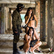 Soldier and two women — Stock Photo #5014942