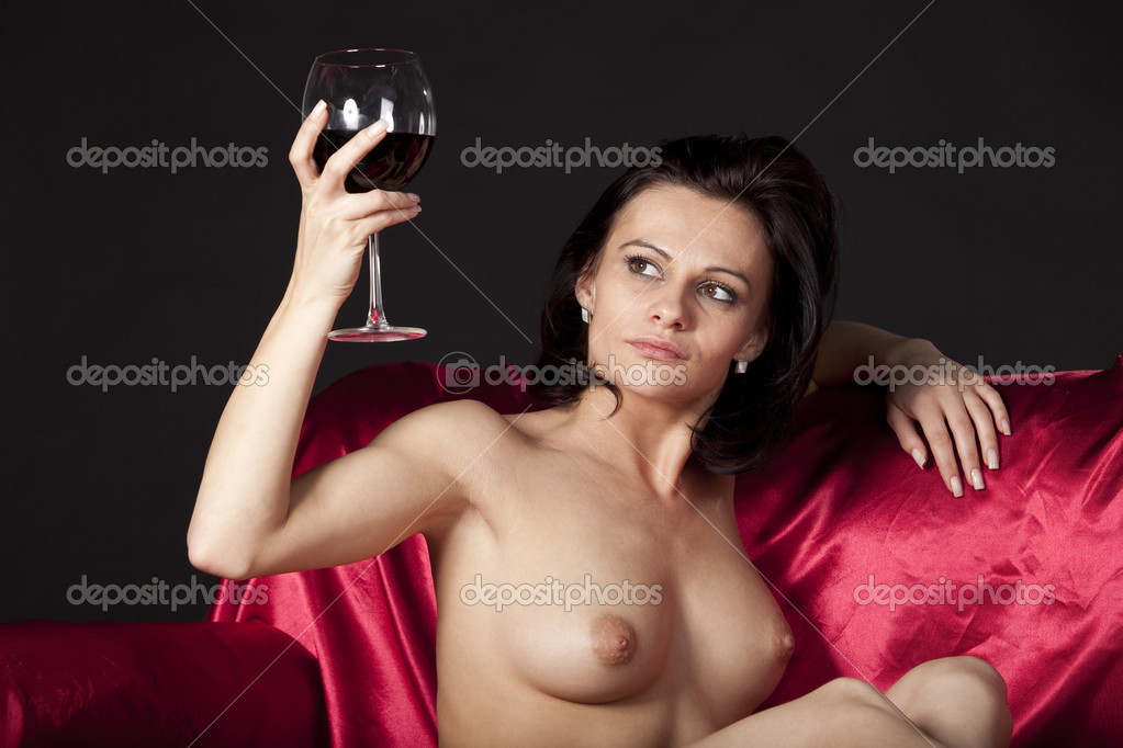 wine naked nude woman