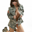 The sexy girl in the military form — Stock Photo